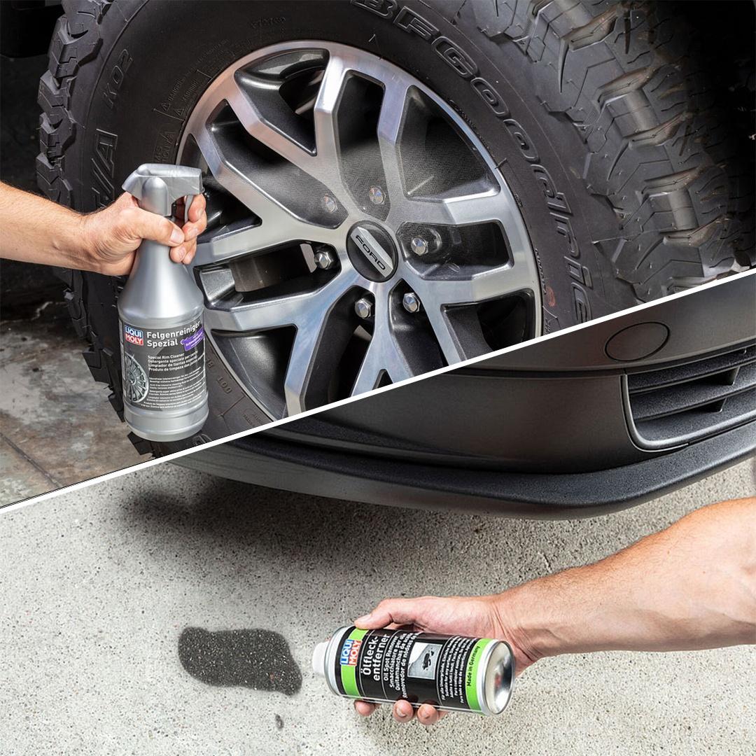 Práctico y eficacia comprobada: Quitamanchas de aceite y Limpiador de llantas especial